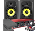 2x KRK RP6 G3 Black & Focusrite 2i4 2nd Gen with Pads and Cables