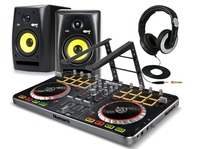 Numark Mixtrack Pro 2 DJ Controller With KRK Rokit 5 G2, Sennheiser HD205-II & Laptop Stand Package