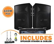 QTX Sound QT15 Speakers & W-Audio EP300 Amp Package