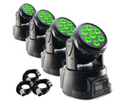 4x Stagg Head Banger 10 Moving Heads Package
