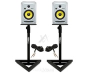 KRK Rokit RP6 G3Ws with Gorilla GSM-100 Monitor Stands & Cables
