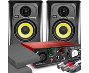 2x KRK RP4 G3 Black & Focusrite Solo 2nd Gen with Pads and Cables