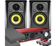 2x KRK RP4 G3 Black & Focusrite 2i4 2nd Gen with Pads and Cables