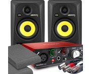 2x KRK RP5 G3 Black & Focusrite Solo 2nd Gen with Pads and Cables