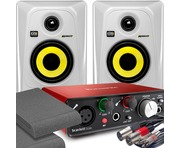 2x KRK RP4 G3 White & Focusrite Solo 2nd Gen with Pads and Cables