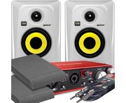 2x KRK RP4 G3 White & Focusrite 2i2 2nd Gen with Pads and Cables
