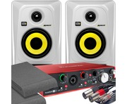2x KRK RP4 G3 White & Focusrite 2i4 2nd Gen with Pads and Cables