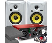 2x KRK RP5 G3 White & Focusrite Solo 2nd Gen with Pads and Cables