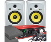 2x KRK RP6 G3 White & Focusrite 2i2 2nd Gen with Pads and Cables