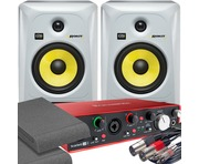 2x KRK RP6 G3 White & Focusrite 2i4 2nd with Pads and Cables