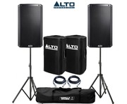 Alto TS212W Speaker Pair with Speaker Stands Covers & Cables