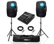 Kam RZ12A Speakers with Stands, ZMX862 Mixer & Cables