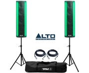 Alto Spectrum PA Active Speakers with Speaker Stands and Cables
