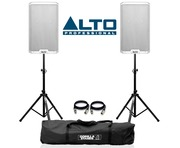 Alto TS212 Active Speaker White with Stands and Cables