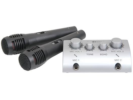 QTX Sound Karaoke Mixer Kit with Mics for CD DVD Player